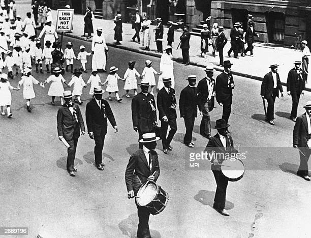 The National Association for the Advancement of Coloured People march in a peaceful protest against the lynching laws