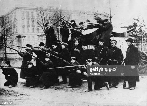 Workers in Petrograd fighting during demonstrations in the Russian Revolution.