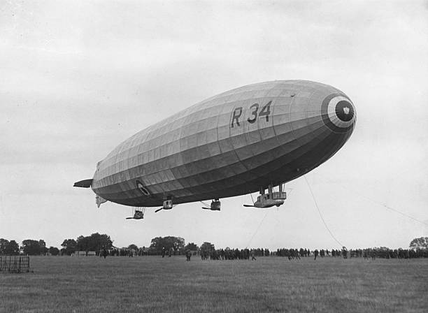 The arrival of the R34 airship at Pulham.