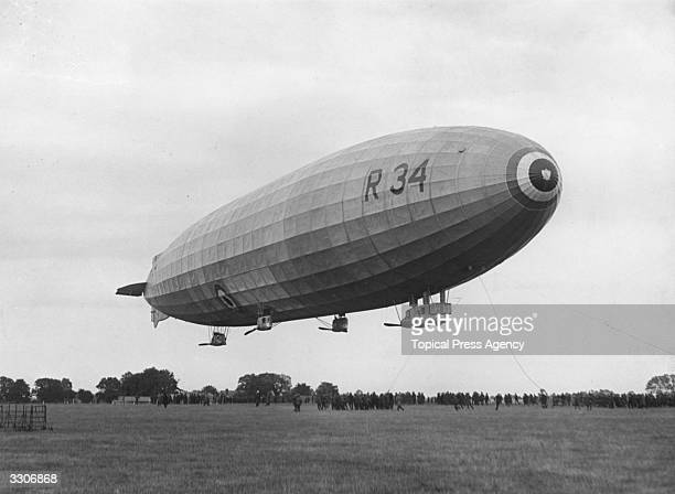 The arrival of the R34 airship at Pulham