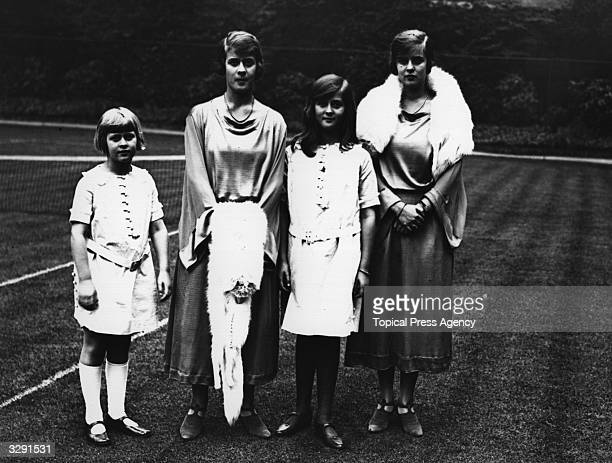 From right to left, the Princess Theodora, Princess Cecilia, Princess Margarita and Sophia of Greece at the wedding of Edwina Ashley and Louis...