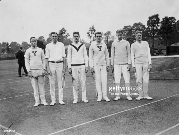 Members of the Yale and Harvard University tennis team in England to play Roehampton Wheeler Pfaffnan Duane Williams Ingraham and Jones