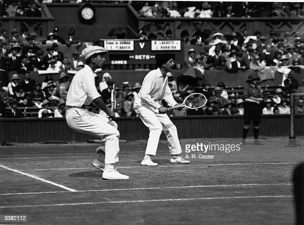 French tennis players Rene Lacoste and Jean Borotra competing in the men s doubles  at Wimbledon bfa02ff3463e5