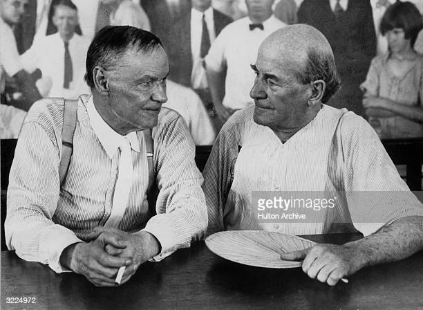 Attorney Clarence Darrow defence lawyer with politician William Jennings Bryan director of the prosecution in the courtroom during the Scopes 'monkey...