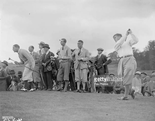 Bobby Jones champion American golfer who won the British Open three times and the US Open four times in action on Epsom golf course
