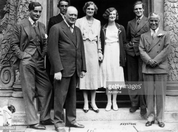 LR Tom Mitford Winston Churchill Freddie Birkenhead Clementine Churchill her daughter Diana Churchill and son Randolph Churchill and comedian Charlie...