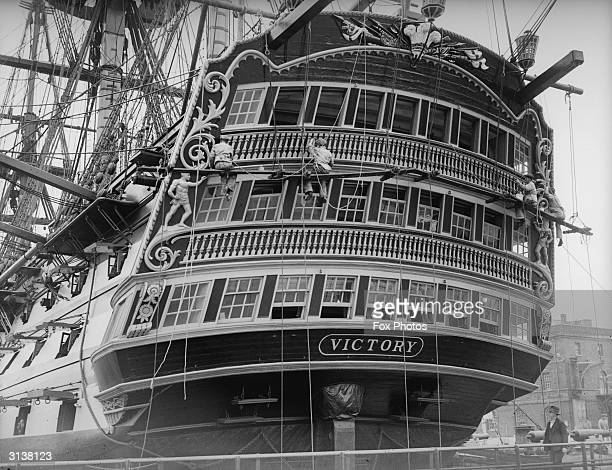 The HMS Victory flagship of Lord Nelson at the Battle of Trafalgar in 1805 moored at Portsmouth