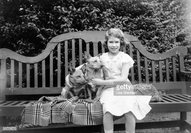 Princess Elizabeth sitting on a garden seat with two corgi dogs at her home on 145 Piccadilly London