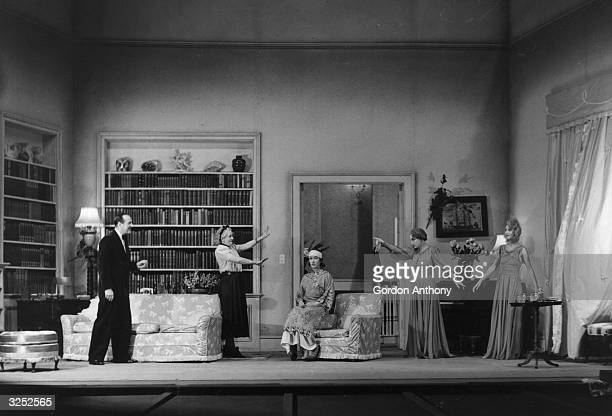 Noel Coward's play 'Blithe Spirit' with Margaret Rutherford Cecil Parker Ruth Reeves Fay Compton and Kay Hammond all sharing a scene at the...