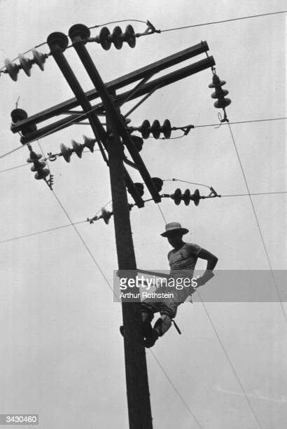 A linesman for a Rural Electrification Administration cooperative at work in Hayti Missouri