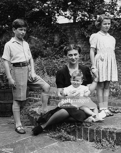 Marina Duchess of Kent with her three children Prince Edward Princess Alexandra and Prince Michael on his first birthday at Coppin's Ivor...
