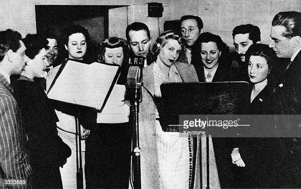 Argentinian actress and Radio star Eva Peron later to become the wife of President Peron during a radio broadcast