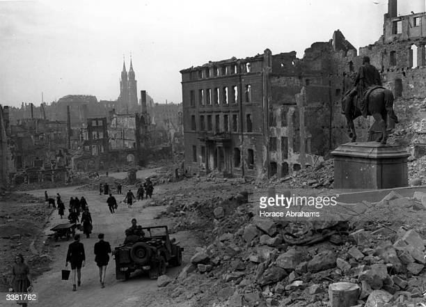 The ruined city of Nuremberg in Bavaria largely destroyed by Allied bombs during World War II A statue of Kaiser Wilhelm I can still be seen in what...