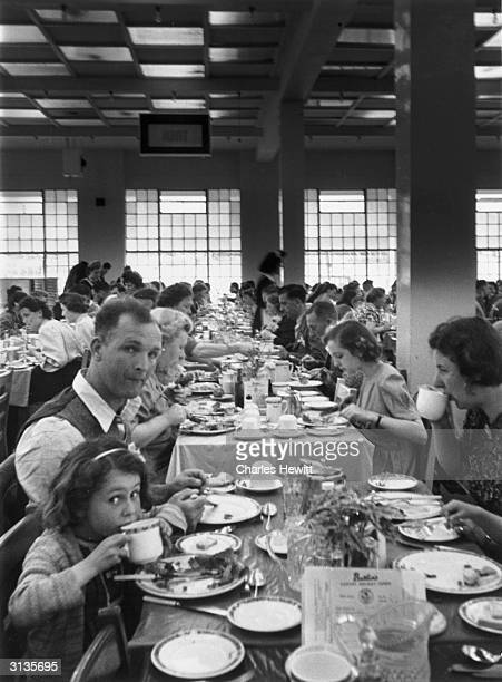 Holidaymakers eating dinner at a Butlin's Camp in the North Yorkshire seaside resort of Filey Original Publication Picture Post 4136 Life In A...