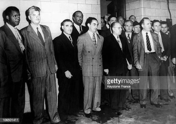 July 1948 11 American Communist Leaders Henry Winston Eugene Dennis Jack Stachel Gilbert Green Benjamin J Davis Junior John B Williamson Gus Hall...