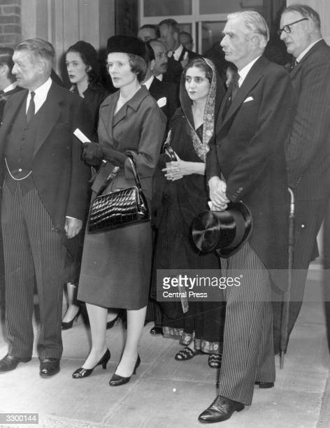 British statesman Sir Anthony Eden and Lady Eden leaving a Memorial Service at the Queen's Chapel of the Savoy Savoy Hill for King Feisal the Crown...