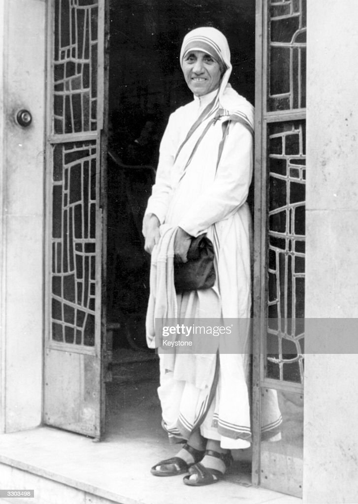Roman Catholic nun Mother Teresa (1910 - 1997) at the Little Brothers of the Poor Mission in Paris. She left France nineteen years ago to promote the foundation of charity missions.
