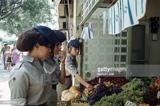 July 1967 after the 'Six Day War' Israel tripled its surface area The new frontier of the Hebrew state Of Israeli women in military uniform in front...