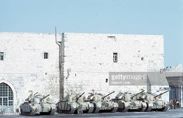 July 1967 after the 'Six Day War' Israel tripled its surface area The new frontier of the Hebrew state Dss armored stationed in front of a old...