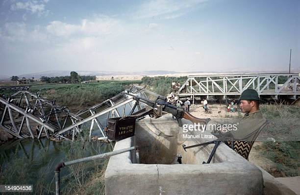 July 1967 after the 'Six Day War' Israel tripled its surface area The new frontier of the Hebrew state An Israeli military stands guard with his...