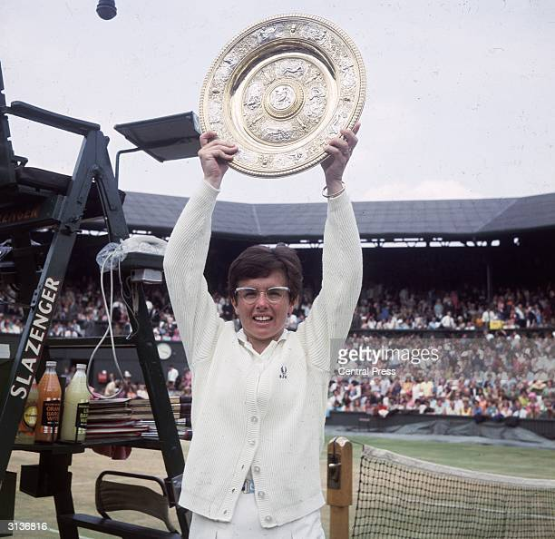 American tennis player Billie Jean King after winning the Women's Singles Championship at Wimbledon