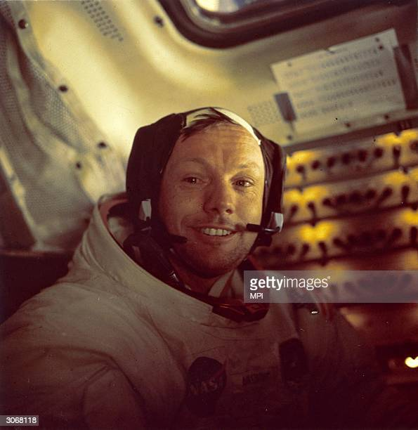 American astronaut Neil Alden Armstrong, the first man to walk on the moon as commander of the Apollo 11 lunar mission.