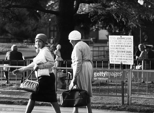 An example of apartheid at work in Johannesburg where a sign outside a park restricts its use to 'European mothers with babies in arms'