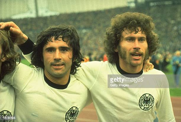 Gerd Muller and Breitner of West Germany celebrate after they win the World Cup Final against Holland at the Olympic Stadium in Munich Germany West...