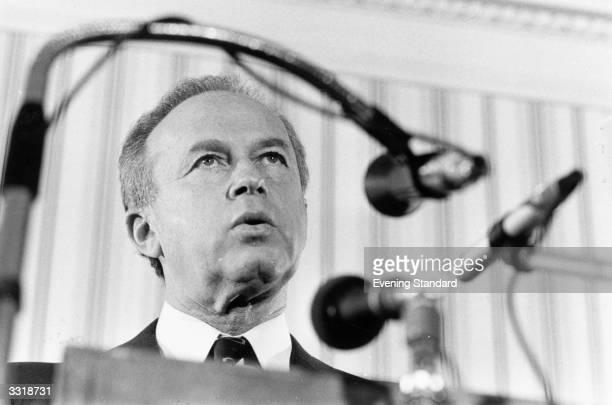 Israeli soldier, statesman and prime minister Yitzhak Rabin making an address.