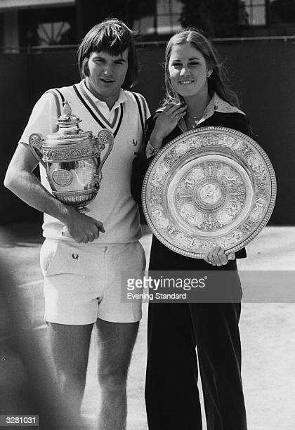 Jimmy Connors and Chris Evert both of the USA with their Wimbledon trophies Connors beat Ken Rosewall and Evert beat Olga Morozova