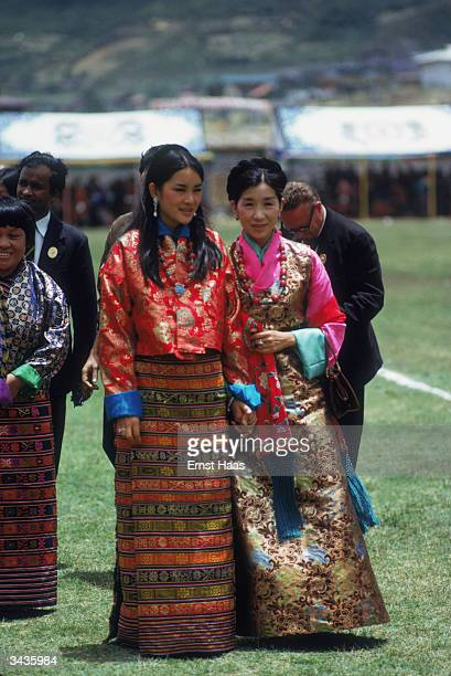 On the right the Queen Mother of Bhutan Her Royal Highness Ashi Kesang and a member of the royal family at the coronation of King Jigme Singye...