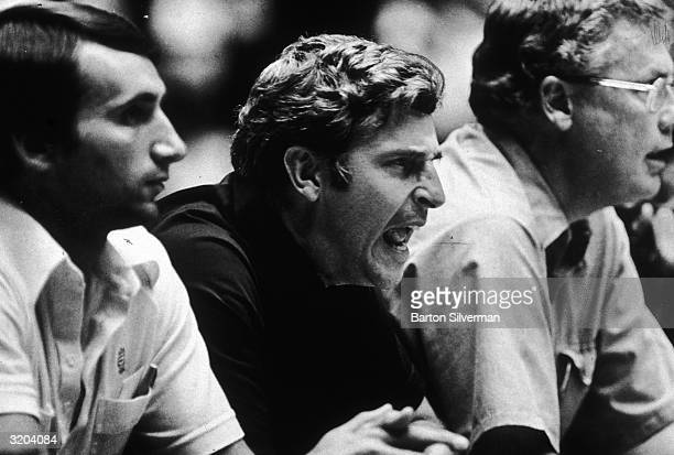 American basketball coach Bobby Knight shouting on the bench as he coaches the United States team at the Pan Am Games San Juan Puerto Rico Two...