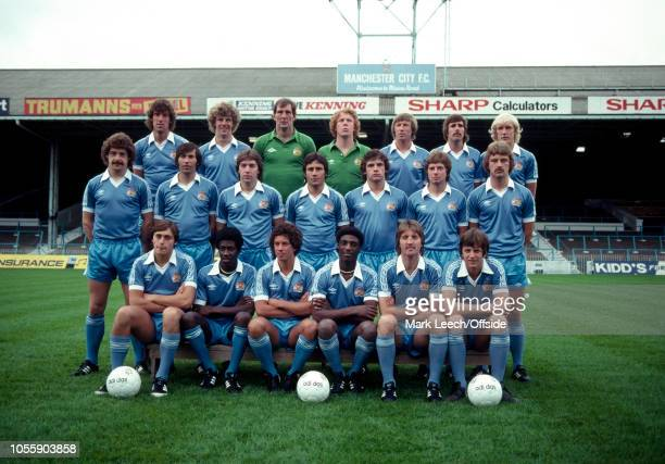 July 1979 - Manchester City Photocall - Top Row, from l to r: Tommy Booth, Tommy Caton, goalkeeper Joe Corrigan, goalkeeper Keith Macrae, Colin Bell,...