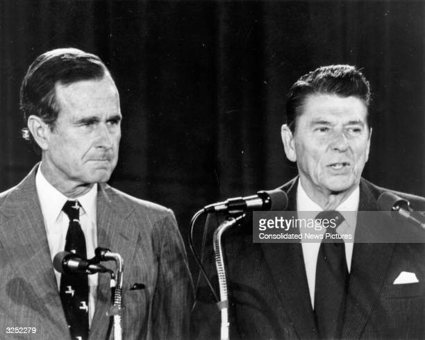 Republican presidential candidate Ronald Reagan later the 40th President of the United States with his running mate vicepresidential candidate George...