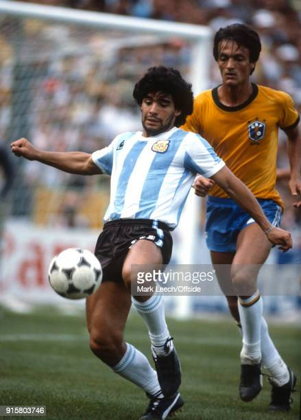 FIFA World Cup Argentina v Brazil Diego Maradona in action for Argentina