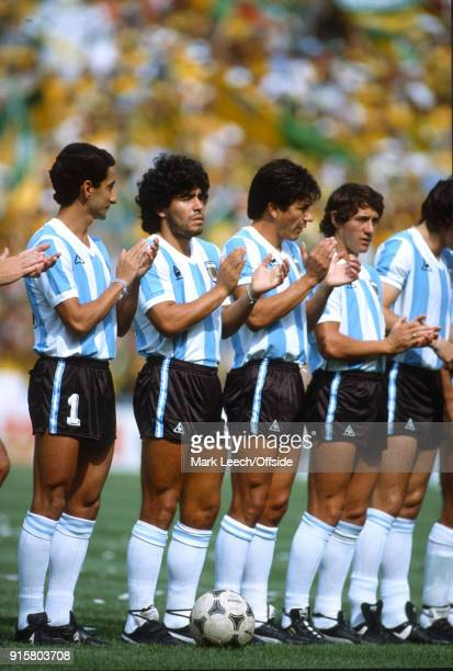 FIFA World Cup Argentina v Brazil Osvaldo Ardiles and Diego Maradona applaud the prematch anthem
