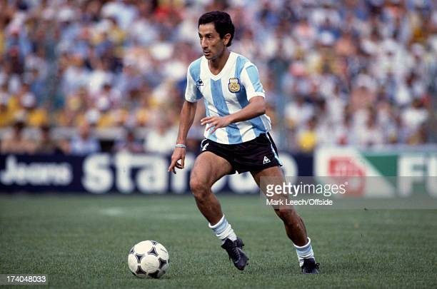 02 July 1982 Fifa World Cup Argentina v Brazil Argentinian midfield player Osvaldo Ardiles wearing the number one
