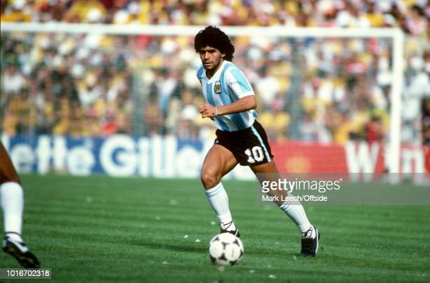 02 July 1982 FIFA World Cup Argentina v Brazil Diego Maradona of Argentina