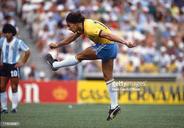 02 July 1982 Fifa World Cup Argentina v Brazil Eder of Brazil shoots with his left foot