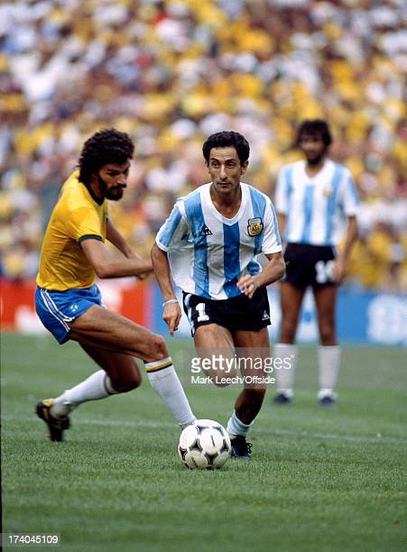 02 July 1982 Fifa World Cup Argentina v Brazil Osvaldo Ardiles of Argentina takes the ball past Socrates