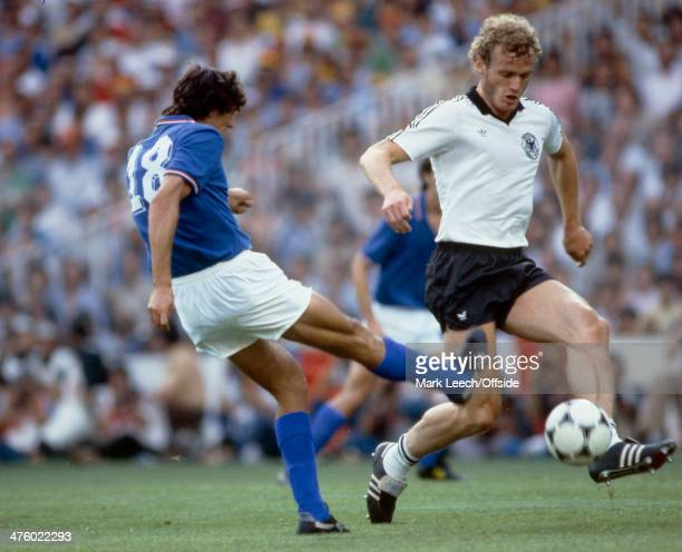 11 July 1982 Fifa World Cup Final Italy v West Germany Hans Peter Briegel of Germany blocks a shot from Alessandro Altobelli of Italy