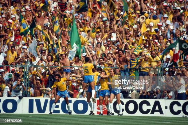 July 1982 - FIFA World Cup - Italy v Brazil - Brazilian supporters celebrate a goal by Socrates -