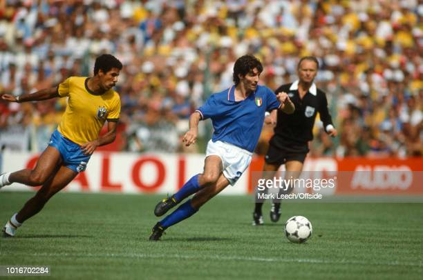05 July 1982 FIFA World Cup Italy v Brazil Paolo Rossi of Italy gets away from Toninho Cerezo of Brazil