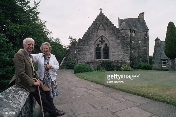 John David Drummond, 17th Earl of Perth at Stobhall, near Perth, Scotland with his wife the Countess of Perth .