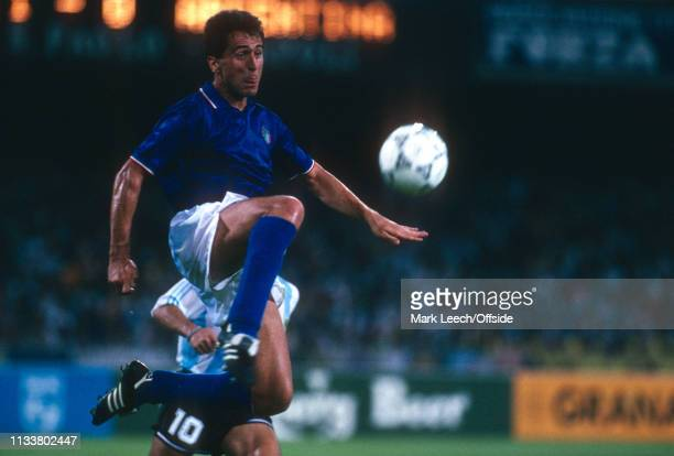 3 July 1990 Argentina v Italy FIFA World Cup SemiFinal Stadio San Paolo Riccardo Ferri of Italy jumps to control the ball