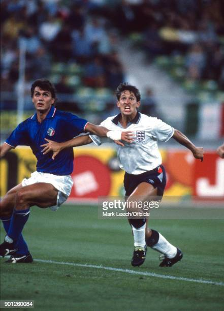 3rd place play off match Italy v England Paolo Maldini of Italy tries to stop Gary Lineker from reaching a cross