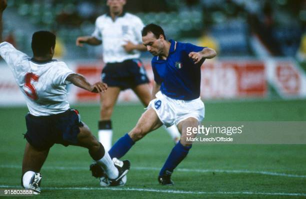 07 July 1990 Bari FIFA World Cup third place match Italy v England Salvatore Schillaci of Italy is tackled by Des Walker