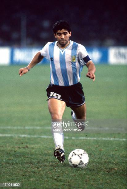 03 July 1990 FIFA World Cup semifinal Argentina v Italy Argentinian captain Diego Maradona takes the fourth successful penalty kick for his team