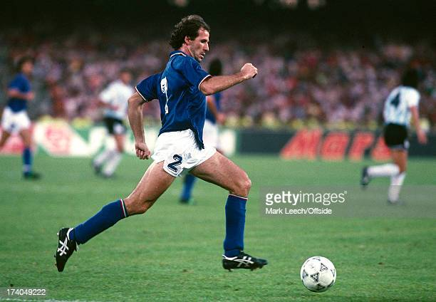 03 July 1990 FIFA World Cup semifinal Argentina v Italy Italian defender Franco Baresi brings out the ball