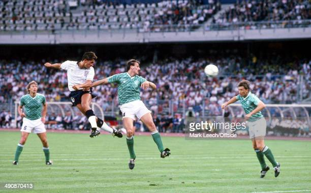 04 July 1990 Football World Cup 1990 England v West Germany Gary Lineker of England watches the ball after his header